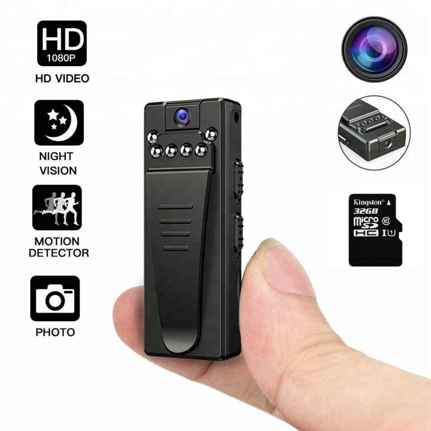 4K FHD High Resolution Wearable Mini Hidden Spy Camera